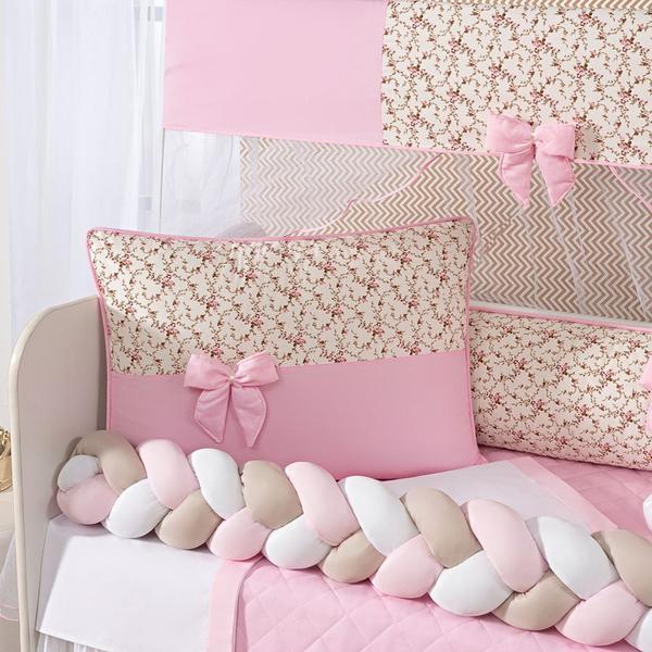 Imagem de Kit Protetor Berço Americano Trançado Menina Florido Laço Doce de Bebê Rosa 12 com saia de berço
