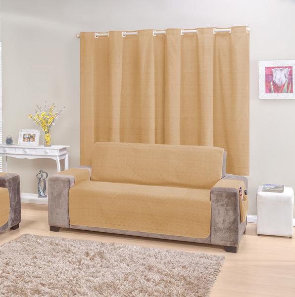 Imagem de Kit Protetor de sofá 2 e 3 lugares e Cortina Castor rustic decor