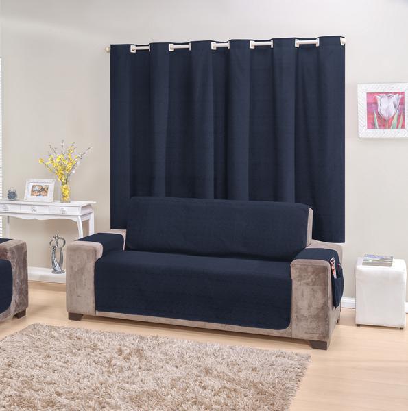 Imagem de Kit Protetor de sofá 4 lugares e Cortina Azul marinho rustic decor