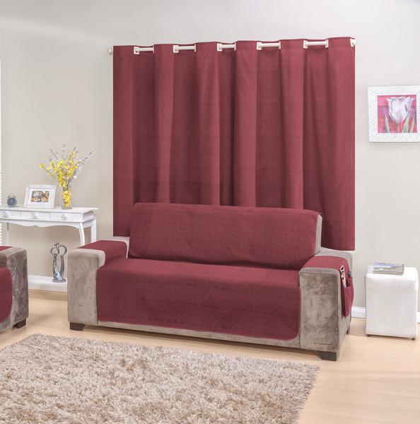 Imagem de Kit Protetor de sofá 4 lugares e Cortina Vinho rustic decor