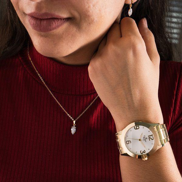 Imagem de Kit Relógio Champion Feminino Dourado Analógico Prova DAgua + Colar e Brincos Garantia de um Ano