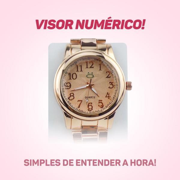 Imagem de Kit Relógio Feminino Analógico Pulseira em Aço + Par de Brincos e Colar