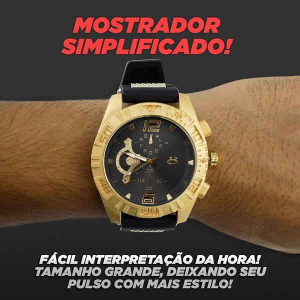 Imagem de Kit Relógio Masculino Orizom + Colar + Pulseira em Aço