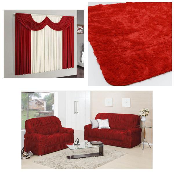Imagem de Kit Sala Capa Sofá 2/3 Lugares + Cortina 2 m + Tapete Fofinho Peludo 2,00 X 1,40 Vermelho