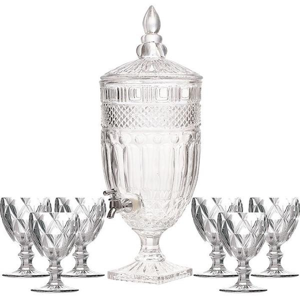 Imagem de Kit Suqueira Cristal 4,5L + Taças Água Diamante total 7pçs