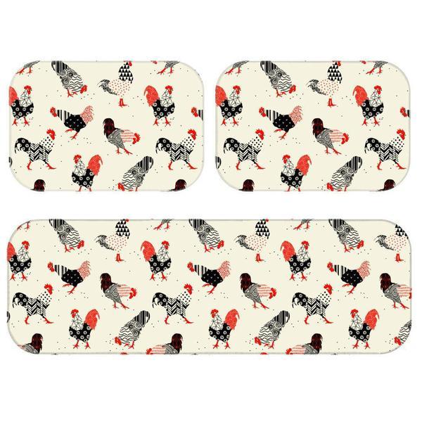 Imagem de Kit Tapete de Cozinha Galinhas Geometricas