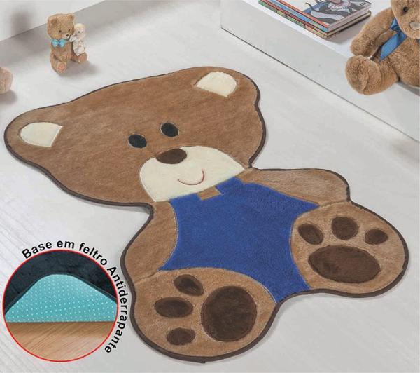 Imagem de Kit Tapete Urso Bebê Azul Royal Com Cortina 2 Metros Infantil Quarto Menino Fofo