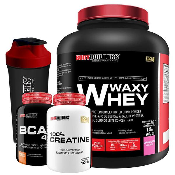 Imagem de Kit Waxy Whey 2kg Morango + BCAA 4,5 100g + 100% Creatine 100g + Coqueteleira Bodybuilders