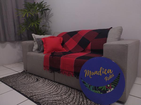 Imagem de Manta para Sofá 02 ou 03 lugares - Manta Vermelha / Preto - Xadrez