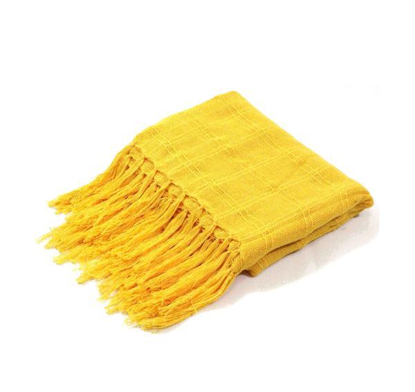 Imagem de manta para sofá amarela xale protetor sofa artesanal em algodão Acessórios Teodoro