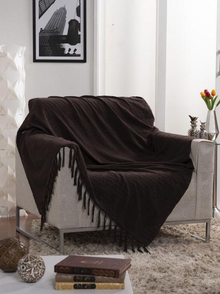 Imagem de Manta Para Sofá Italiana Chocolate - 135x150cm