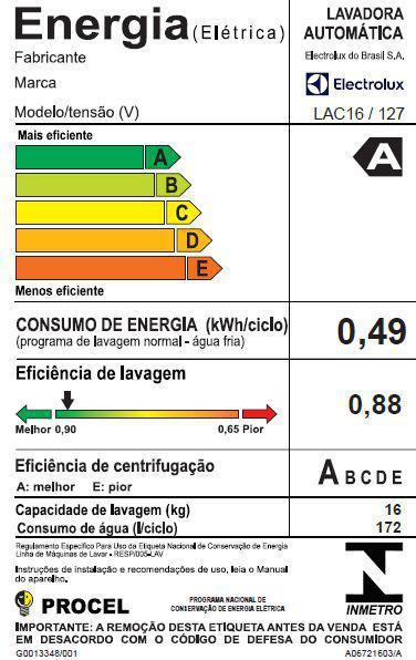 Imagem de Máquina de Lavar 16kg Electrolux Turbo Economia, Silenciosa com Jet&Clean e Filtro Fiapos (LAC16)