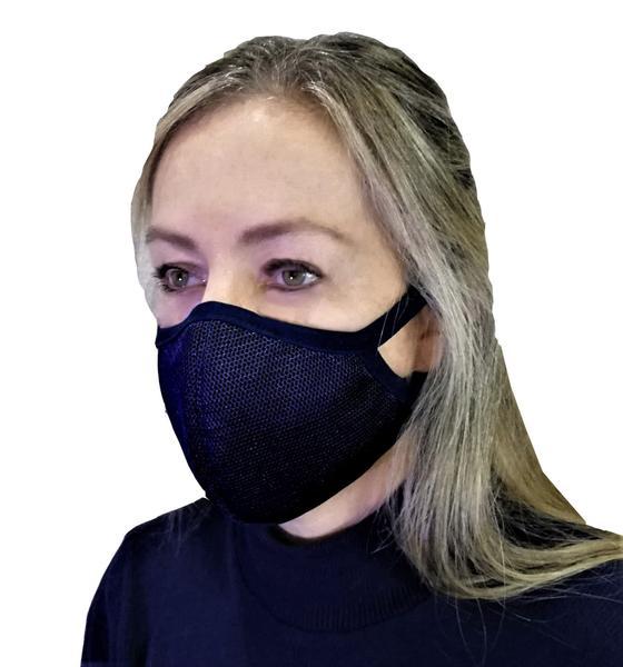 Imagem de Máscara 3 camadas Tecido Antibacteriano Eletrostático Com Prata e Tela de Proteção Externa Azul