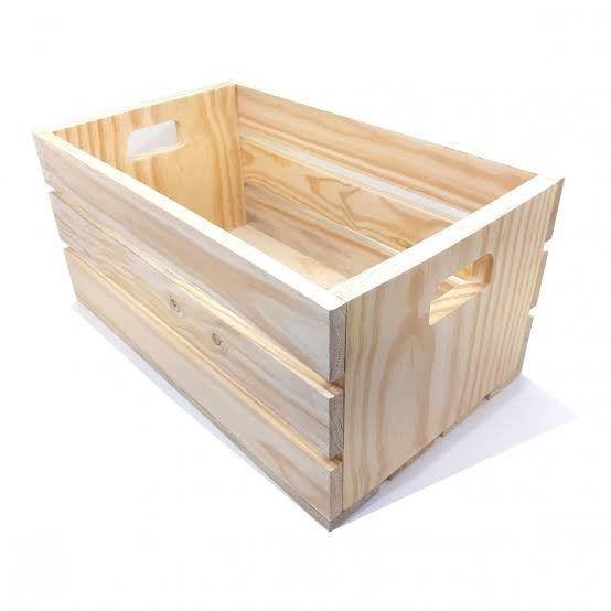 Imagem de Mini Caixote de Madeira Pinus 40x20x13cm Caixa de Brinquedos Organizadora - Palleter