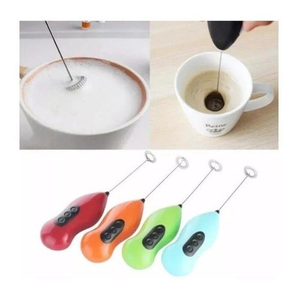 Imagem de Mini Mixer Misturador Elétrico Pilha Inox Shaker Café Chá