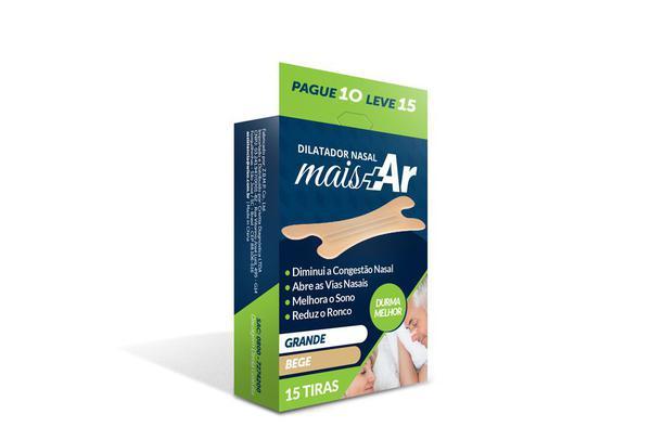 Imagem de Pague 4 Leve 5 - Dilatador Nasal Mais Ar - Grande - Bege - Caixa c/ 15 Unid
