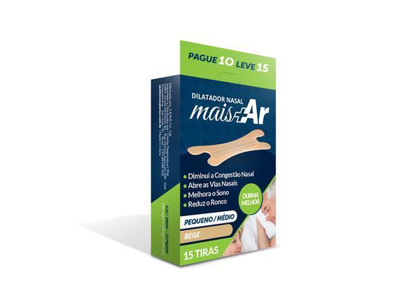Imagem de Pague 4 Leve 5 - Dilatador Nasal Mais Ar - Pequeno/Médio -  Bege - Caixa c/ 15 Unid