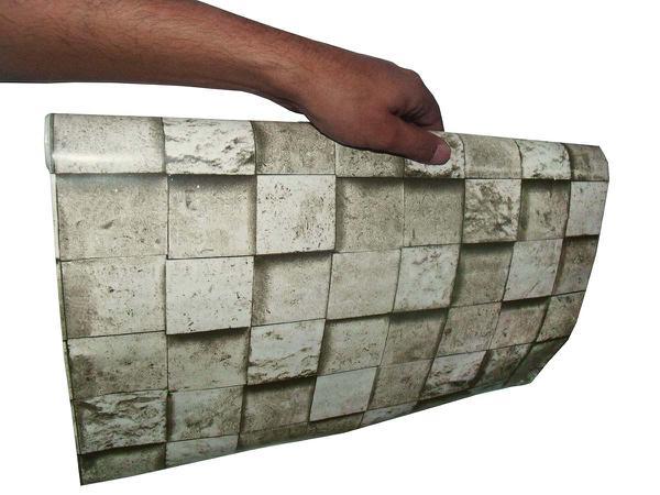 Imagem de Papel de Parede Autoadesivo Vinilico Rolo Lavavel Fosco Decorativo Canjiquinha Pedra Cinza (bsl-42079-1-G-4)