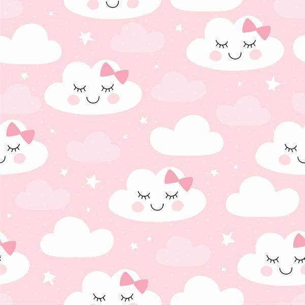 Imagem de Papel De Parede Bebê Infantil Nuvem Chuva Nuvens Rosa N4779
