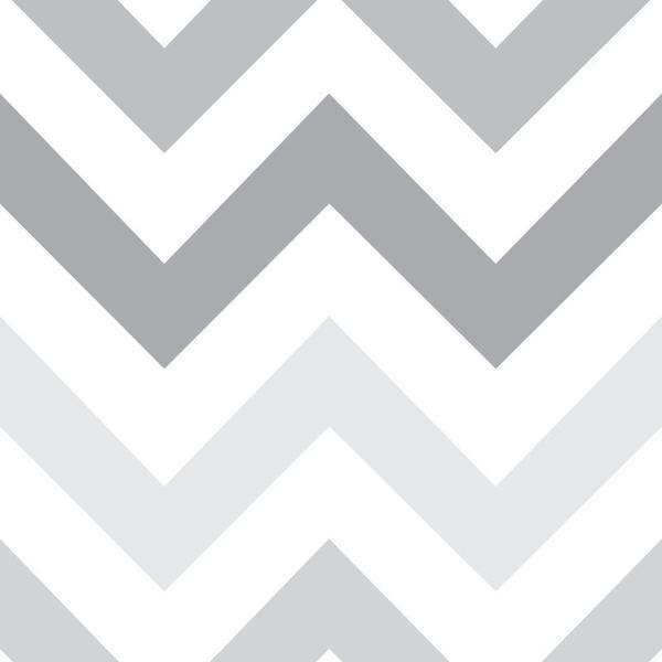 Imagem de Papel de Parede Chevron em tons de Cinza e Branco