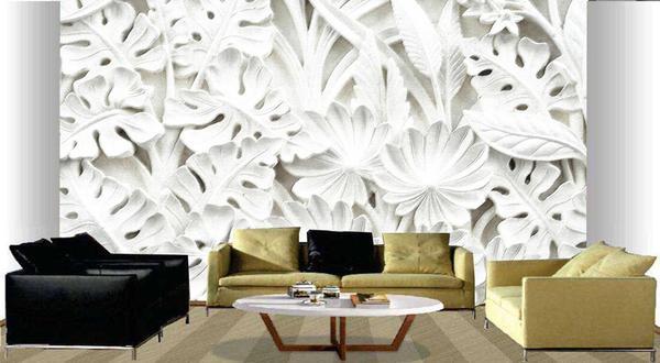 Imagem de Papel de parede decorativo 3d folhas