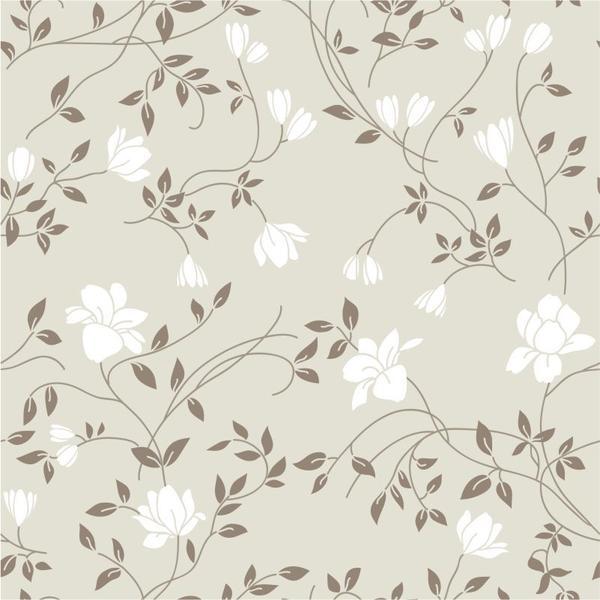 Imagem de Papel de Parede Floral em Tons de Branco e Bege