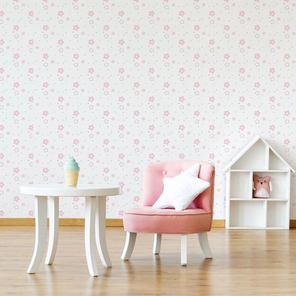 Imagem de Papel de Parede Floral Rosa Infantil Adesivo 2,70x0,57m