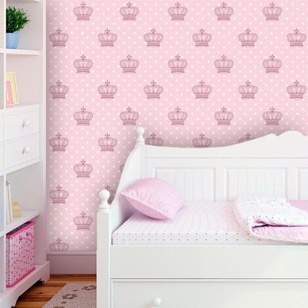 Imagem de Papel de Parede Infantil com Coroas Cute
