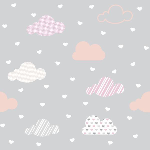 Imagem de Papel de Parede Infantil Corações com Nuvens