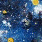 Imagem de Papel de Parede Infantil Vinílico Kan Tai Coleção Hello Kids Espaço Sideral Planetas Azul, Branco,Amarelo