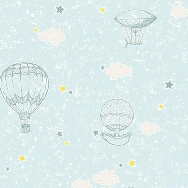 Imagem de Papel de Parede Vinílico Infantil Coleção Yoyo Balões Azul