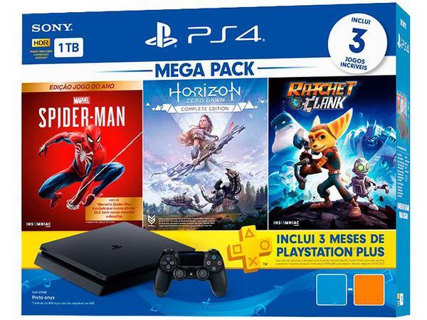 Imagem de PlayStation 4 Mega Pack V15 1TB 1 Controle Preto - Sony com 3 Jogos PS Plus 3 Meses