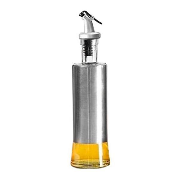 Imagem de Porta Azeite Vinagre Galheteiro Em Vidro Aço Inox C/ Dosador