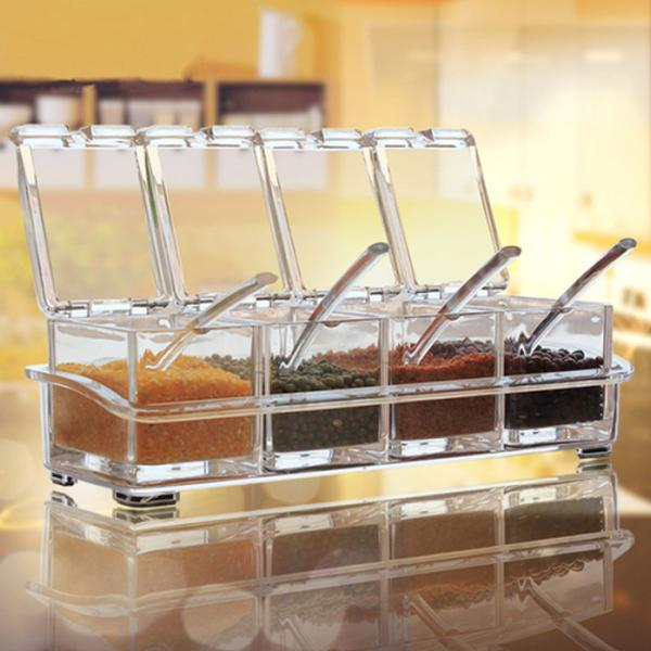 Imagem de Porta Condimento Organizador Tempero Em Acrílico Cozinha
