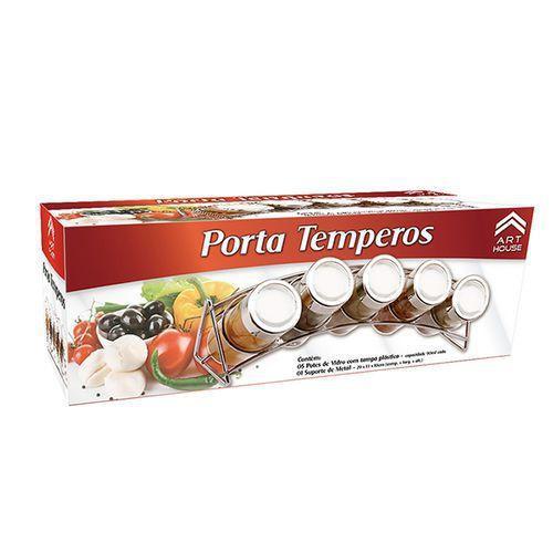Imagem de Porta Condimento Temperos 5 Peças Art House C/ Suporte De Metal Curvado REF: BS1486/ 7551