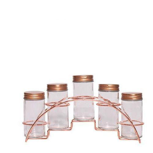 Imagem de Porta Condimentos 05 Peças Com Suporte Rose REF: ZGF125