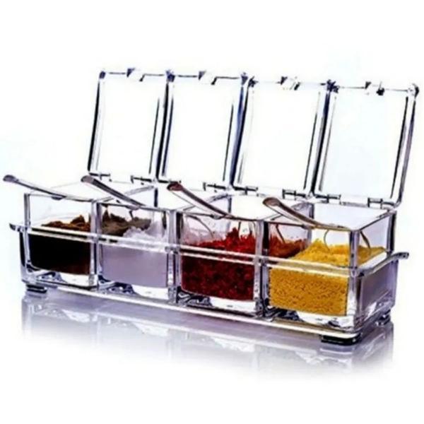 Imagem de Porta Condimentos E Temperos Acrilico Lindo Crystal 4 Potes
