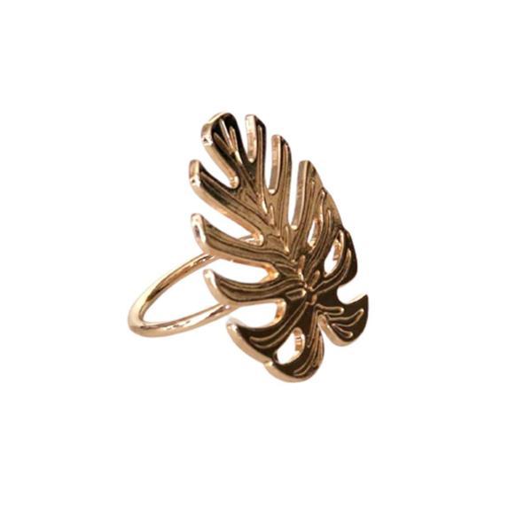 Imagem de Porta guardanapo jogo com 4 aneis Leaf Dourado zamac