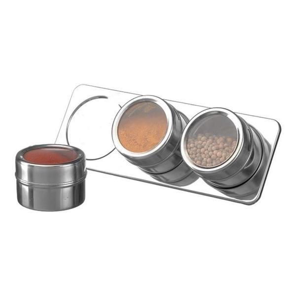 Imagem de Porta tempero condimentos 3 potes inox com fundo magnetico