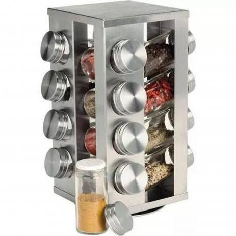 Imagem de Porta Tempero Giratório Inox 16 Potes de Vidro com tampa Inox