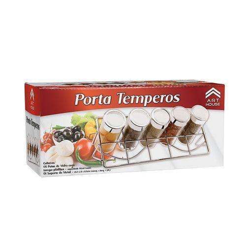 Imagem de Porta Temperos Condimentos 5 Potes de Vidro REF: BS1485