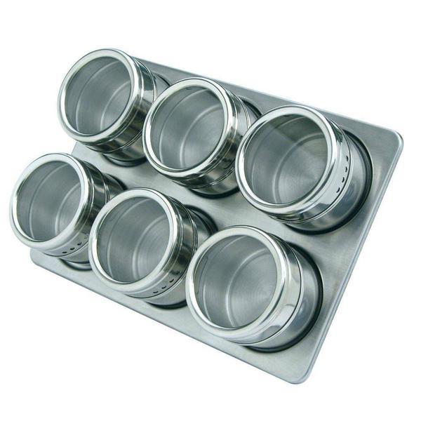 Imagem de Porta Temperos E Condimentos Em Aço Inox Magnético 6 Potes REF: XC259