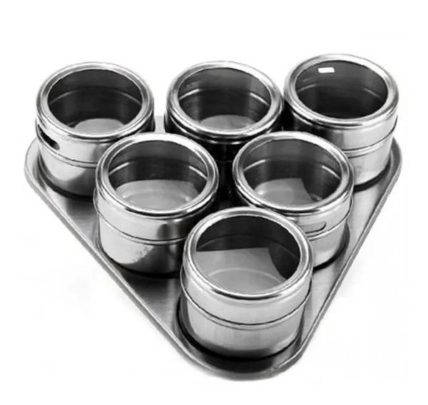 Imagem de Porta Temperos e Condimentos Inox Conjunto 7 Peças