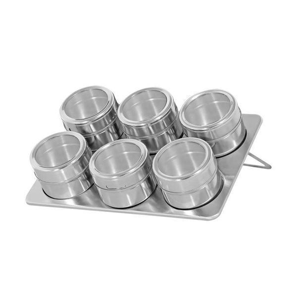 Imagem de Porta Temperos e Condimentos Magnético com 06 unidades Inox Cozinha