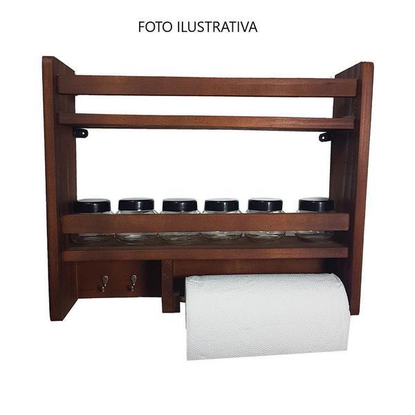 Imagem de Porta Temperos Parede Com Porta Rolo + 6 POTES DE VIDRO