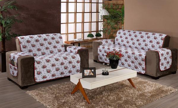Imagem de Protetor de sofá 1 lugar Estampado Floral vermelho