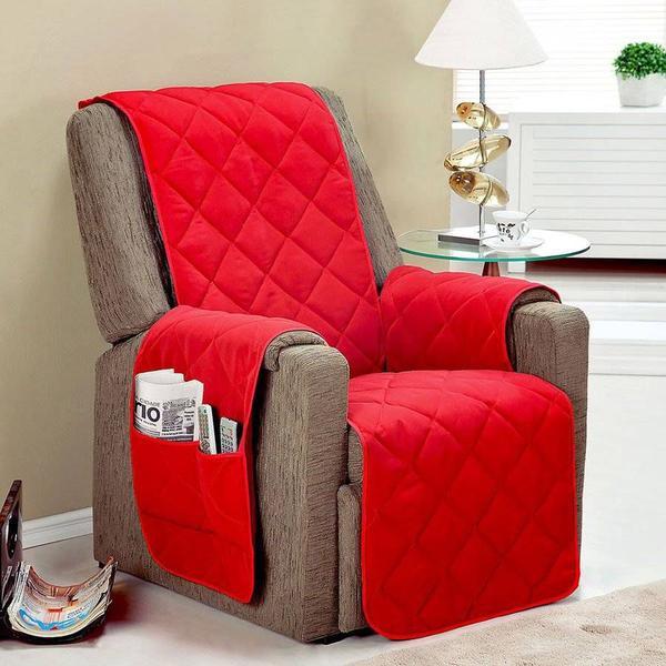 Imagem de Protetor de sofá 1 lugar face unico confort vermelho