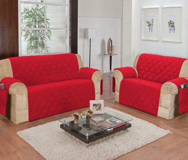 Imagem de Protetor de sofá 2 e 3 lugares face unico confort vermelho