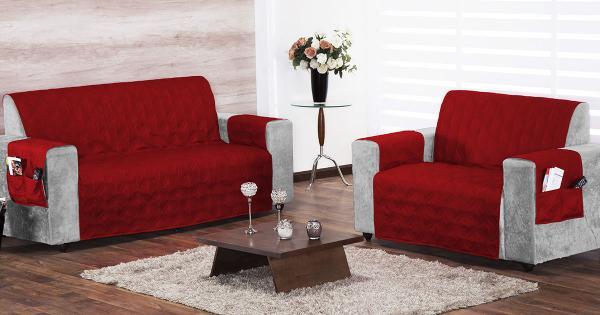Imagem de Protetor de Sofá 2 e 3 lugares Vermelho com 2 peças tecido Poliester - Capa para Sofá