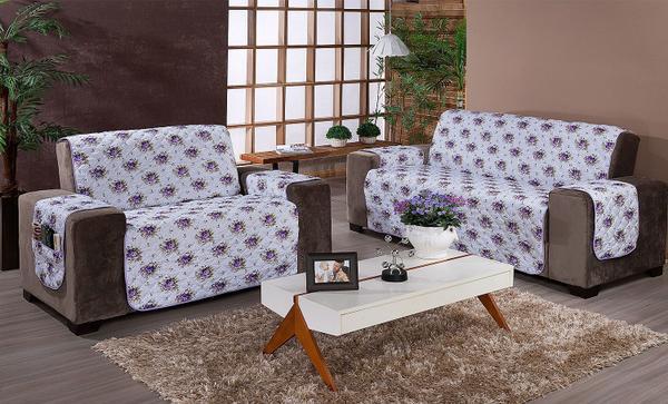 Imagem de Protetor de sofá 2 lugares Estampado Floral lilas